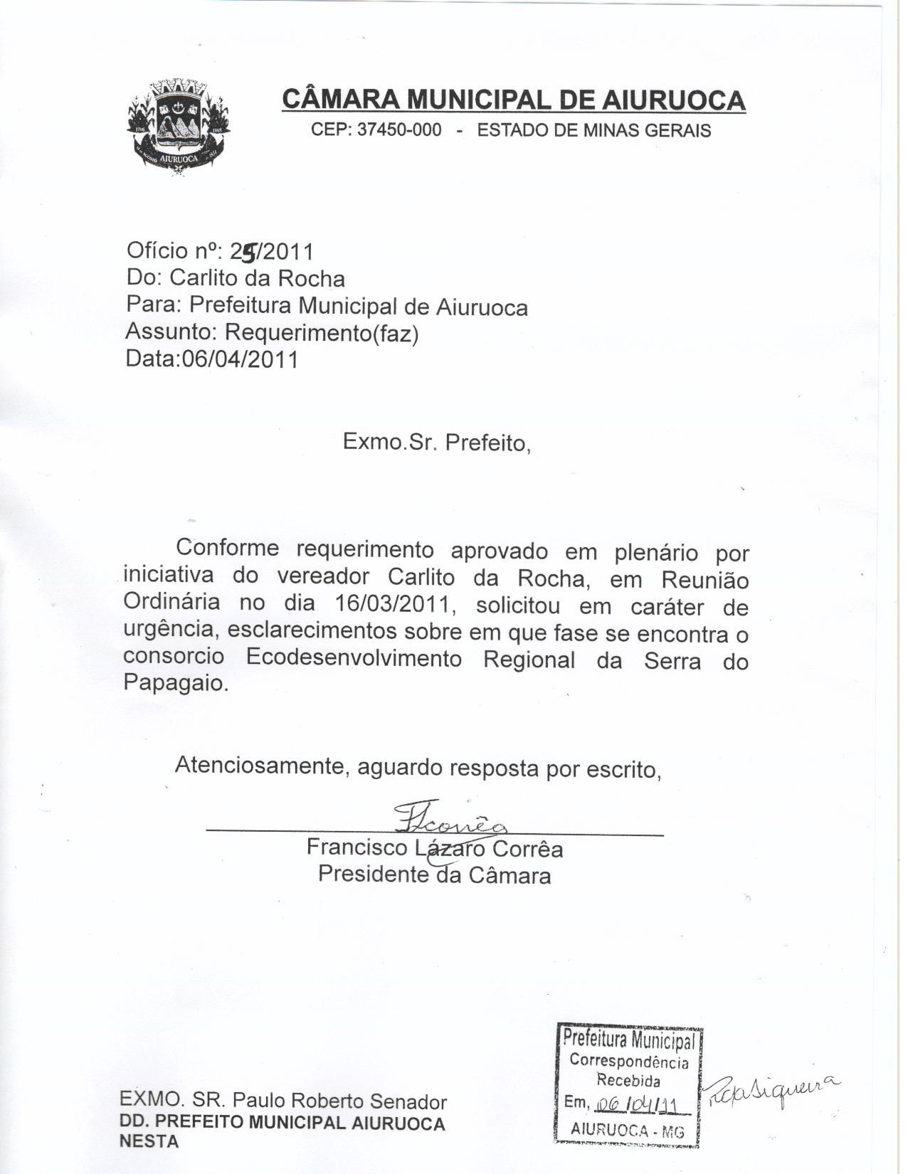 Ofícios 2011 Câmara Municipal De Aiuruoca